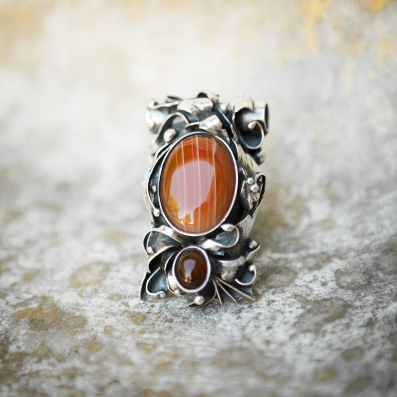 Red Striped Agate Pendant | Belle Femme