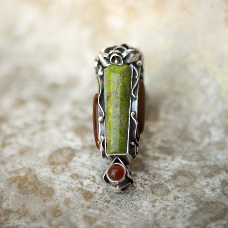 Green Watercolor Jasper Pendant | Belle Femme