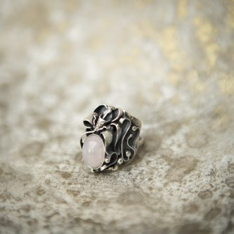 Rose Quartz Ring With Silver Rose | Belle Femme