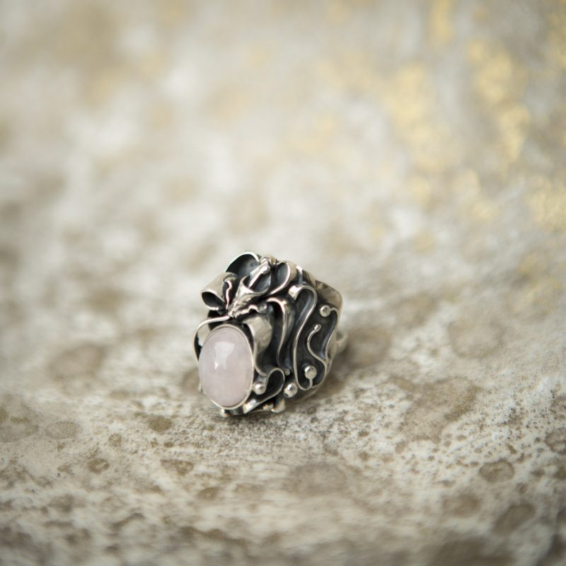 Rose Quartz Ring With Silver Rose | Belle Femme